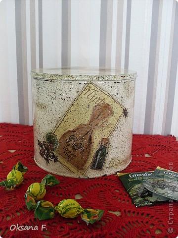 Все эти работы были сделаны на заказ. Большая жестяная банка для рассыпного чая или трав, лейка и чайный дом. фото 3