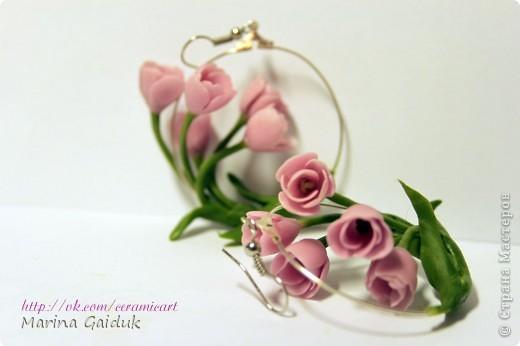 Засмотревшись на  работу Екатерины Звержанской, я и себе попробовала сделать мини тюльпаны на кольцах. вам судить как вышло) фото 3