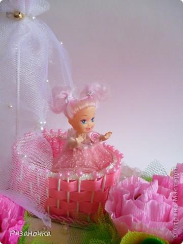 Корзиночка на ДР женщине. 36 конфет. 16 шок.(Тимка-сладкоежка, Никеа Мерлетто, Нугата, Суфле Люкс) и 20 Шарлет вишня   фото 7