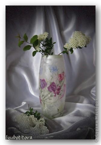 ( стеклянная ваза долго стояла и ждала своего наряда, но вот пришла такая нежная салфеточка и сразу стало ясно: час икс настал! Вам судить что получилось! фото 1
