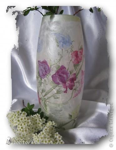 ( стеклянная ваза долго стояла и ждала своего наряда, но вот пришла такая нежная салфеточка и сразу стало ясно: час икс настал! Вам судить что получилось! фото 2