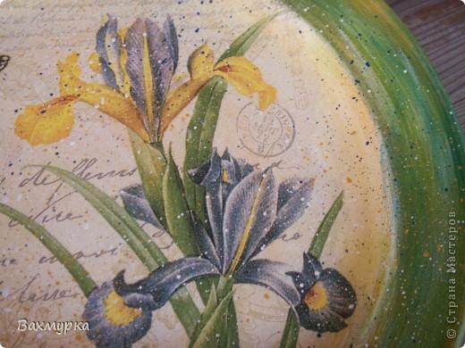 Тарелка d 23 см. В работе использованы акрил. краски 4-5 цветов, салфетка, лак акрил. фото 2