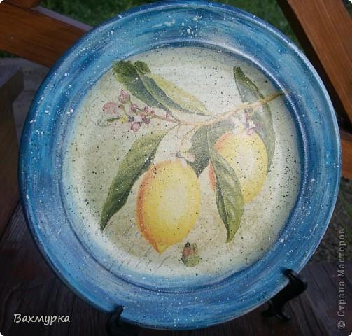 Тарелка d 23 см. В работе использованы акрил. краски 4-5 цветов, салфетка, лак акрил. фото 4