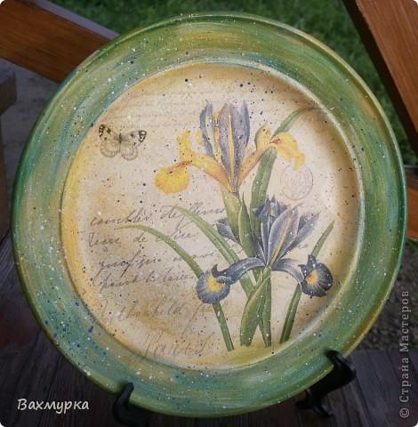 Тарелка d 23 см. В работе использованы акрил. краски 4-5 цветов, салфетка, лак акрил. фото 1