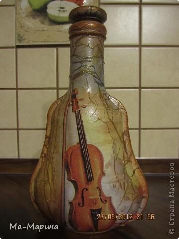 Мой дебют в работе с декупажем на бутылках и с яичным кракле. фото 8