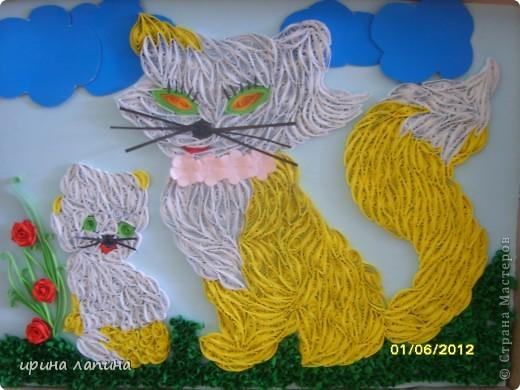 Здравствуйте Страна Мастеров!!! Я сегодня с новой работой, мультяшной. Кошечка и котёнок, увидела у дочки в книжке и мне очень захотелось сделать их в квиллинге. фото 1