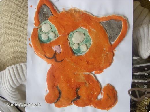 Моя первая работа. Котик Рыжик. Очень неуклюже и заляпано получилось! фото 1