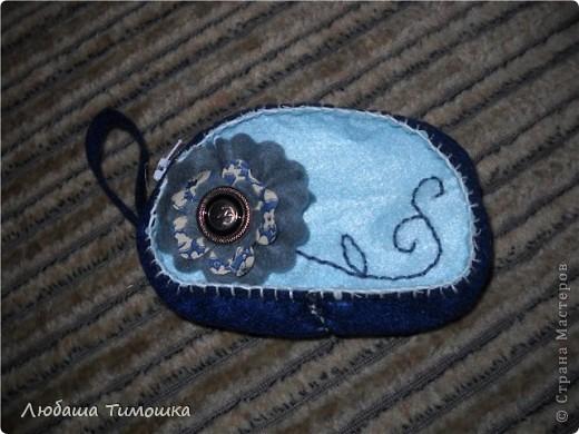 """Сумочка и моих джинсов, ремень у сумки - сняла со своей старой сумки, цветочек - самодельный.  Косметичка - набор фетровый """"Сделай вместе с мамой"""" (делали напополам с Настей). Правда фетр продублировала бязью, чтобы попрочнее косметичка получилась  Игольницу сделала уже давно. Все сфотографировать не получалось. Вишенку делала Настина одноклассница Катя фото 2"""