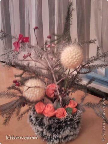 """делала цветок перед новым годом """"Зимние цветы""""   фото 2"""
