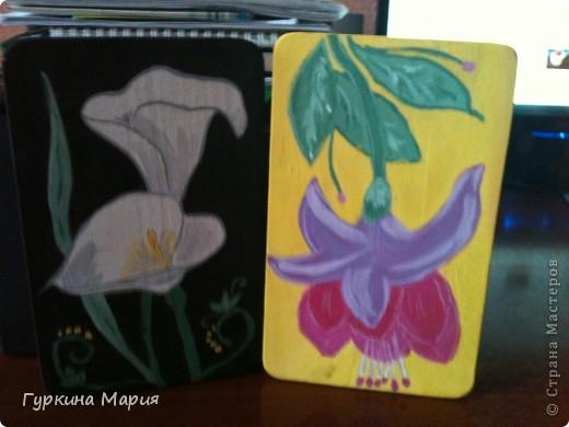 Это мои разделочные досточки полностью нарисованные гуашью. фото 1
