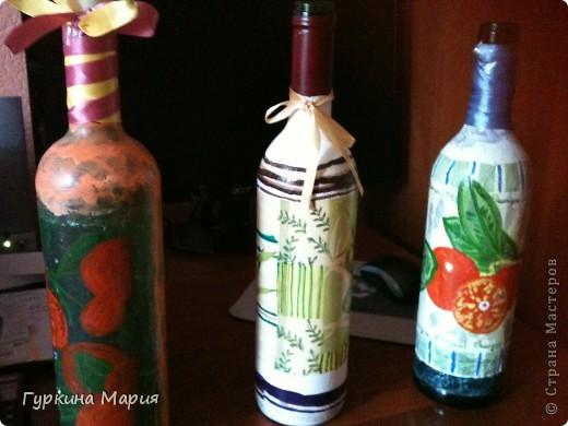 3 мои декупажные бутылки)) строго не судите это самые самые первые работы декупажа на бутылках фото 1