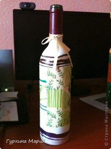 3 мои декупажные бутылки)) строго не судите это самые самые первые работы декупажа на бутылках фото 3
