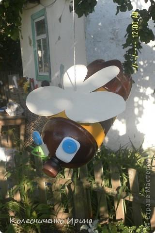 Вот такие пчелки поселились у меня на дереве...идея не моя, увидела в интернете и очень захотелось таких сделать.... я так увлеклась, что сделала сразу две.... эта пчелка голубоглазая...... фото 1