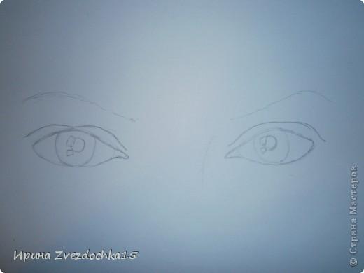 Наверное я помешана на рисовании глаз)) Но что тут поделать, нравится и все) Только в этот раз я нарисовала два глаза, а не один. (Точнее взгляд.) Как всегда рисую с картинки интернета. фото 2