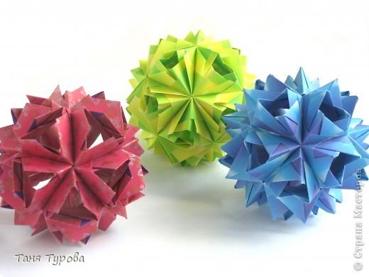 Здравствуйте, дорогие мои!  Сегодня у меня разгадалки кусудам М. Синайской. Фото автора  http://www.flickr.com/photos/goorigami/5485038423/  Все 3 из полосок 7,5 напополам Итоговый размер - 7,5 - 8 см собраны без клея фото 1