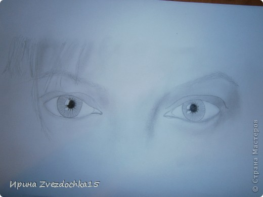 Наверное я помешана на рисовании глаз)) Но что тут поделать, нравится и все) Только в этот раз я нарисовала два глаза, а не один. (Точнее взгляд.) Как всегда рисую с картинки интернета. фото 4