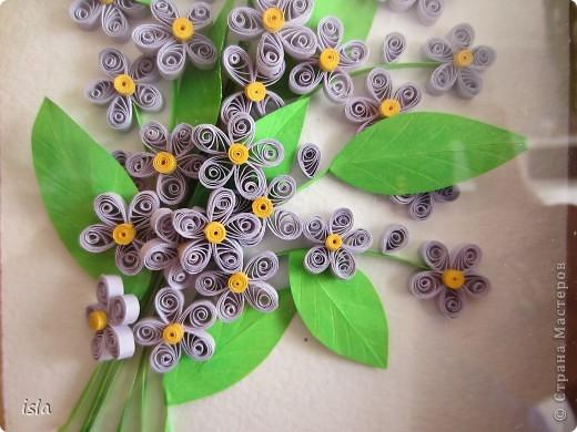 Здравствуйте, дорогие мастерицы! Совсем забыла про эту свою работу. Очень давно накрутила цветочков, подсмотрела на сайте http://blog.naver.com/paper6262/. Хотелось какую-то маленькую картинку в небольшую рамочку. Собрала себе такой букетик, а потом подарила его мамуле на день рождения. фото 2
