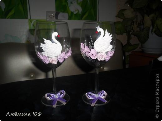 Вот и Я решила попробовать сделать бокальчики с лебедями))))))))))))))