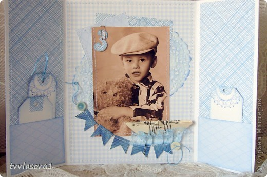 просто посмотрите...это открыточка - раскладушка с фотографией моего племяшки...  итак - РАЗ! фото 3