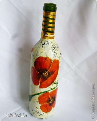 Бутылки,банки  разные в технике декупаж,роспись. фото 6