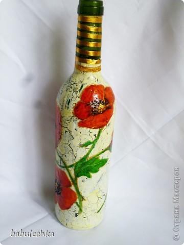 Бутылки,банки  разные в технике декупаж,роспись. фото 5