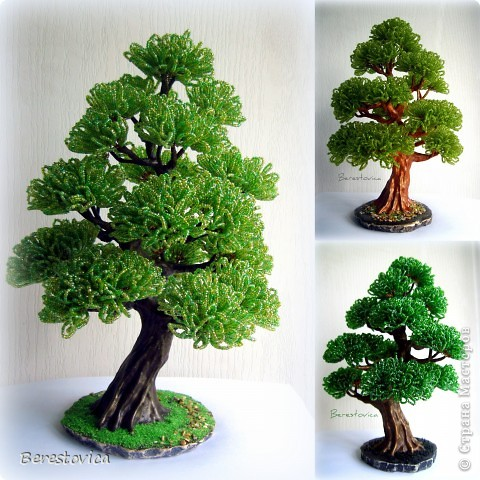 Как сделать дерево бонсай из бисера своими руками схемы