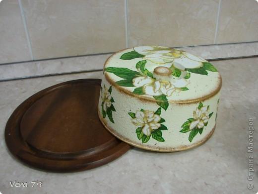 для своей кухни сделала набор состоящий из керамической тарелки,керамического горшка,деревянной досточки и что-то вроде сырницы.Так как с кракелюром не очень дружу,решила попробовать набрызги. фото 8
