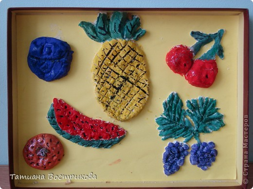 """Работы для души на уроках труда """"осенний пейзаш""""(ткань,тесто) для оформления фона были кусочки обивочной ткани. фото 5"""