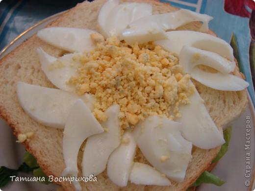 Детские бутерброды(дети сами готовили на уроках)(колбаса,сыр,булка,капуста-лист, украшение-яйцо,укроп,горох, кукуруза) фото 5