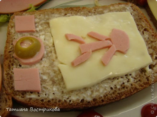 Детские бутерброды(дети сами готовили на уроках)(колбаса,сыр,булка,капуста-лист, украшение-яйцо,укроп,горох, кукуруза) фото 8