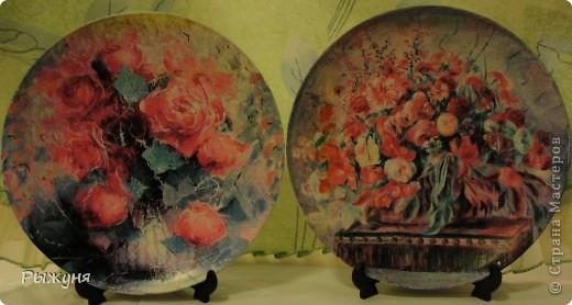 Здравствуй  СМ!!!!  предлагаю оценить тарелочки летние с распечатками, сюжеты цветочные ....... яркие, красочные, красивые  картины известных художников... фото 1