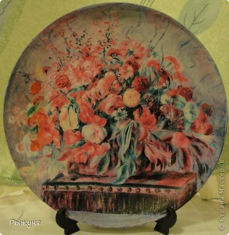 Здравствуй  СМ!!!!  предлагаю оценить тарелочки летние с распечатками, сюжеты цветочные ....... яркие, красочные, красивые  картины известных художников... фото 5