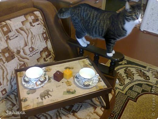 Скоро у мамы день рождения,вот мы с котом Максимом и решили что-нибудь сотворить,благо нашелся старый деревянный столик, фото которого история не сохранила...А вот то,что с него получилось)) фото 1