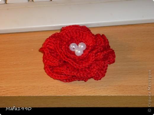 Украшение Вязание крючком Цветы на шапочку Бусины Нитки фото 2.