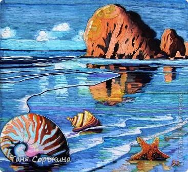 Картина панно рисунок Бумагопластика Мечта о море Пейп-арт Салфетки фото 1