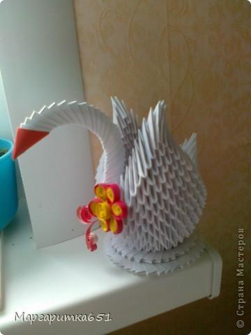 Всем доброго времени суток.  Хочется показать вам лебедя, которого я сделала в подарок родственнице. Очень хотелось бы узнать ваше мнение по поводу цветочка сделанного в технике квиллинг. Просто я первый раз делаю в этой технике цветочек именно для лебедушки. фото 2