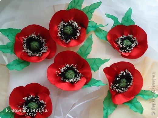 Очередные цветочки. Все цветы, которы я делаю, идут на изготовления резинок, брошек, заколок, так что я показываю Вам только сами цветочки. фото 1