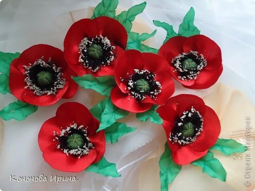 Очередные цветочки. Все цветы, которы я делаю, идут на изготовления резинок, брошек, заколок, так что я показываю Вам только сами цветочки. фото 2