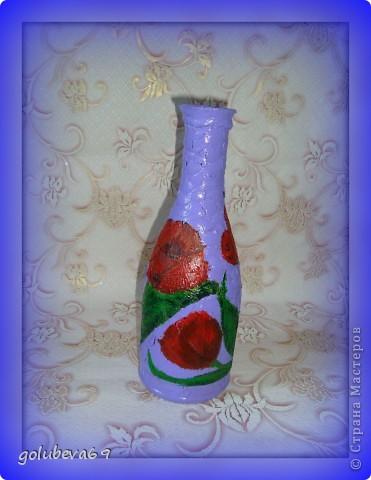 Бутылока сделана в технике декупаж с использованием салфетки и  яичной скорлупы фото 1