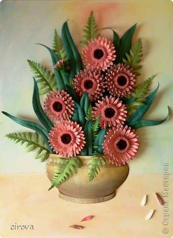 Работа выполнена на заказ, на день рождение. Очень нравятся эти цветы, спасибо Марине СИПОЛИК за них http://stranamasterov.ru/node/271876 , а вот компазиция не очень удалась.  фото 1