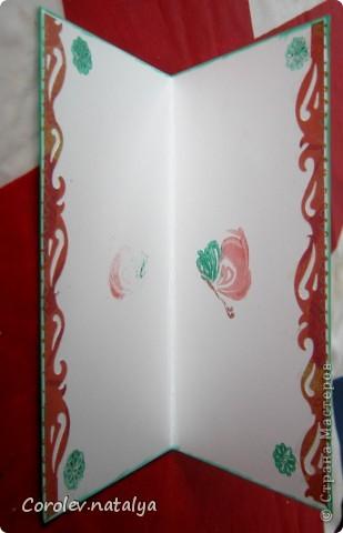 И это снова я ,но уже с открытками. Продолжаю учиться и пытаюсь делать многослойные откыткии с цветами ручной работы. Критику принимаю,советы тем более! фото 16