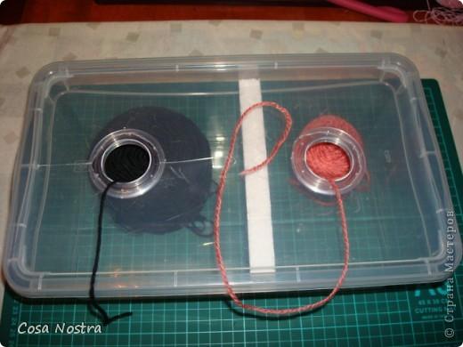 Это пластиковая коробка для хранения обуви. В крышке ножницами я вырезала пару отверстий, обработала их прозрачной люверсой для штор, клубки разделила пенопластом. фото 2