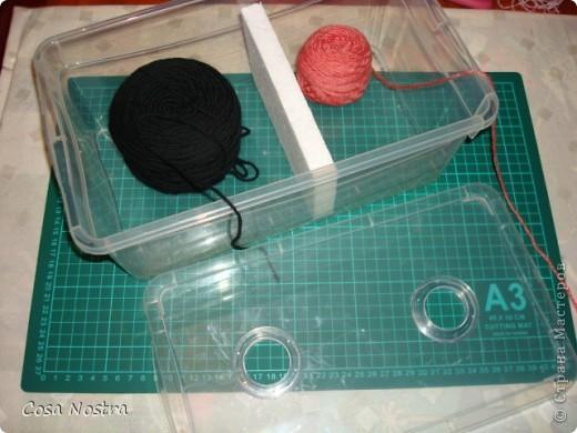Это пластиковая коробка для хранения обуви. В крышке ножницами я вырезала пару отверстий, обработала их прозрачной люверсой для штор, клубки разделила пенопластом. фото 1