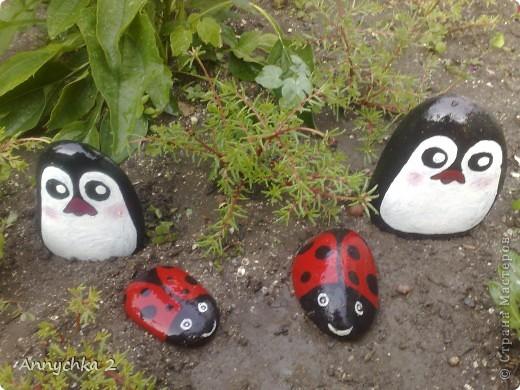 ну вот такие пингинчики у меня получились)) в очередной раз притащила кучу камней с берега (мы живем в 100 метрах от каспийского моря) и намалевала себе и родным на клумбы) фото 2