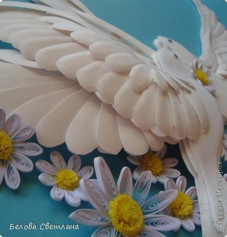 """С античных времен голубь является романтическим и трогательным символом любви и верности. В представлении людей всего мира голубь выглядел идеальным во всех отношениях созданием, средоточием многих добродетелей и прекрасных нравственных качеств. Эту птицу славили в лирических стихах поэты, трубадуры и менестрели воспевали в образе голубки нежную и прекрасную даму сердца, а церковники восхваляли ее как духовный образец ангельской кротости и доброты. Голубь с оливковой ветвью в клюве — общепризнанная эмблема мира, покоя и надежды. Даже китайцы и японцы, обычно столь оригинальные в своих суждениях, придерживаются тех же взглядов на символику голубя, что и другие народы (в Японии, например, эмблема мира изображается в виде голубя с мечом). В христианской религии в белоснежном голубе верующие усматривали воплощение Святого Духа. Голубь с лавровой ветвью – символ мира, голубь с рогом изобилия – счастливая случайность. На Востоке голубь – один из многих символов долголетия.  На Хомячке стартовало новое общее задание к празднику """"День семьи, любви и верности"""". http://homyachok-scrap-challenge.blogspot.com/  А так как символом этого дня является ромашка, то можно делать любые работы с ромашками: вырезанные, вышитые, нарисованные, слепленные, связанные. . . У меня это голубь с голубкой и   ромашки, как цветы жизни!!! фото 3"""