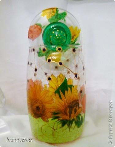 Бутылки,банки  разные в технике декупаж,роспись. фото 3