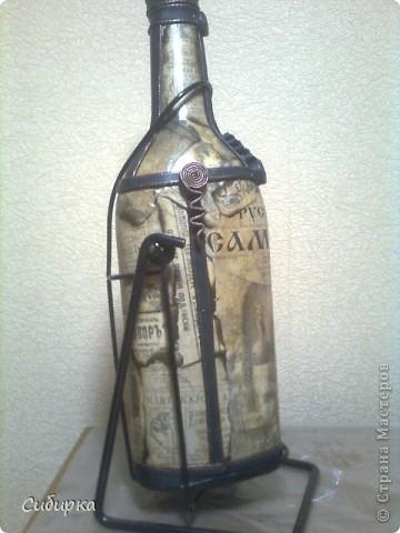 Попросили меня задекорировать 3-х литровую бутыль,с надписью САМОГОН . Вот что у меня получилось.Только вот опять фотала на телефон. фото 2