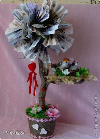 Обычно на свадьбу дарят деньги. Но не дарить же их скучным способом - в конверте)) Пришло в голову денежное дерево. За идею и вдохновление спасибо Надюшке11 http://stranamasterov.ru/node/364621?c=favorite  фото 1