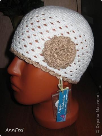 Гардероб Вязание крючком Детская шапочка с цветком Крючок Пряжа