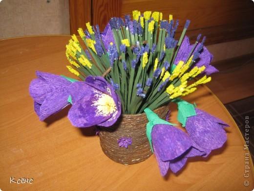 Здравствуйте, мастерицы! Очень понравились ведерки с цветами от Елены15. 12. Решилась повторить, тем более что у невесты моего брата день рождение! Она большая любительница фиолетового цвета. Вот и получился такой подарок фото 1